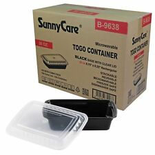 """Black 38 oz. 8"""" x 6"""" x 2"""" Rectangular Microwavable Container with Lid - 150 / Cs"""