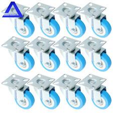 12pack 2 Swivel Caster Polyurethane Wheels Base Top Plate Double Ball Bearing