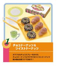Re-ment dollhouse miniature chocolate donuts twist donuts green tea latte 2006