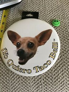 2 VINT FAST FOOD LARGE TACO BELL DOG BURGER KING BUTTON PIN ORIGINAL COLLECTABLE