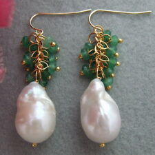FC060512 Natural White Keshi Pearl Green Faceted Jade Earrings - Gold Plated