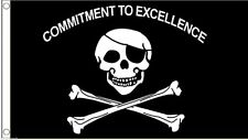 3x5 Jolly Roger Pirate Commitment To Excellence SuperPoly 3'x5' Flag Banner
