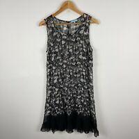 Blue Illusion Womens Silk Dress Large Petite Black Floral Sleeveless Round Neck
