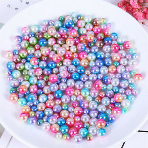 6mm 8mm Round Plastic Beads No Holes Many Colours Faux Pearls Jewellery Crafts