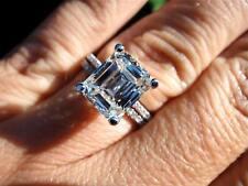14K White Gold 2.65Ct Emerald Cut Diamond Influence Wedding Ring Set For Bridal