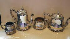More details for superb fine art deco ornate 4pc silver plated teaset martin hall & co 1866-1936