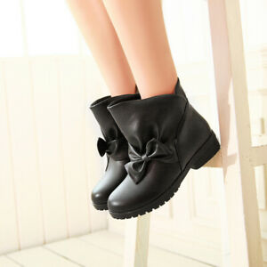 Womens Girls Sweet Bowtie Bootie Casual Flat Pull On Round Toe Ankle Boots