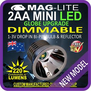 MAGLITE UPGRADE LED MINI AA 220lm DIMMABLE REFLECTOR BULB GLOBE FLASHLIGHT TORCH