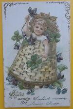 Cartolina d'epoca rilievo Bambino/ Buon Anno - postcard - cpa -  primi '900