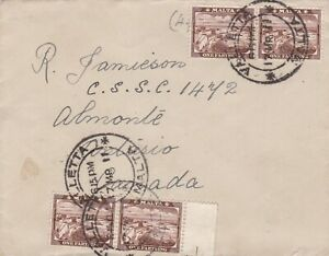Malta 1911 Cover to Almonte Canada 1d Rate 4 x ¼d Stamps