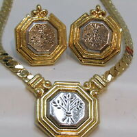 Vintage AVON Necklace Earrings Silver Gold Floral Estate Costume Jewelry
