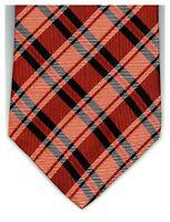 Geoffrey Beene Tie Classy Orange Navy Blue Plaid Silk 58 x 4 USA 2100 Ties 4Sale