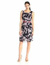 Connected Apparel Allover Print Chiffon Short Dress with Belt 16 NWOT MSRP:$62