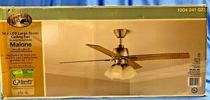 Hampton Bay Malone 54 in. Brushed Nickel Ceiling Fan with Light Kit - USED
