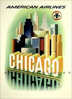 Chicago AA Airlines Vintage Poster Print Retro Travel Tourism Wall Home Decor