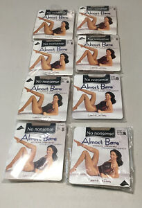8 NEW NO NONSENSE ALMOST BARE LACE HI-CUT PANTY PANTYHOSE BARE BISQUE SIZE B IM6