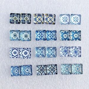 50 Pcs Porcelain Blue White Pattern Glass Cabochon Flatback Photo Jewelry Making