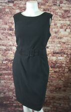 Sharagano Black Belted Sheath Dress Size 14