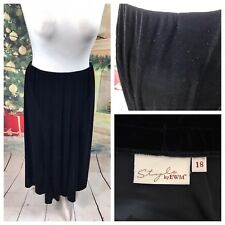 Ladies Black Skirt Size 18 STYLE BY EWM Velvet Long Stretchy Party Cruise Smart