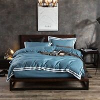 4pcs Bedding Set Cotton White Edge King Size Bedsheet Set Duvet Cover Fit Sheet