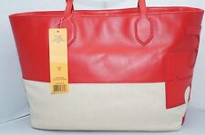 New Tory Burch Stacked T East West Bag Red Tote Hobo Handbag