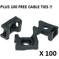 100x Large Cable Tie Screw Fit Saddle Mountings for Looms & Wires (9mm Max Wdth)