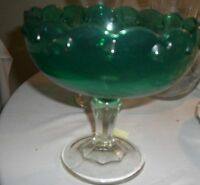 GREEN  Glass Compote  FOOTED VINTAGE