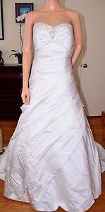 EDEN BRIDALS White Satin Beaded Strapless Wedding Gown Dress sz 12 Large L Train