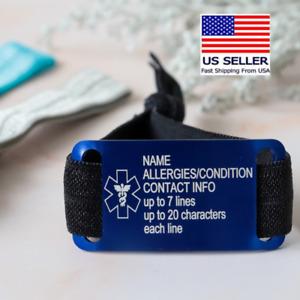 Personalized Medical ID Bracelet Free Engraved Elastic Allergic Emergency Alert