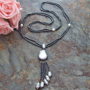 Rhinestone Pave White Keshi Pearl Pendant Pearl Hematite 2 Strands Necklace