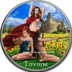 2021 USA Trivium Silver Shield 3 Girls Yellow - Silver Colorized Coin Series!!