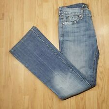 7 For All Mankind Jeans UK 12 Bootcut Stretch Mid Wash Boho Factory Fade Genuine