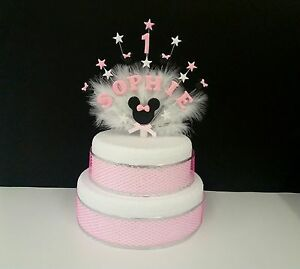 Minnie mouse style birthday cake topper, personalised with any name and age