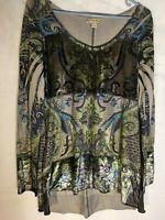 energe World Wear Velvet Trim Exotic Designs Asymmetrical Hem Stretch Tunic S