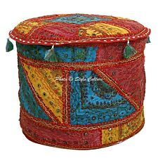 Ethnic Round Pouf Cover Embroidered Patchwork Mirrored Ottoman Boho Cotton 18""