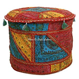 """Ethnic Round Pouf Cover Embroidered Patchwork Mirrored Ottoman Boho Cotton 18"""""""