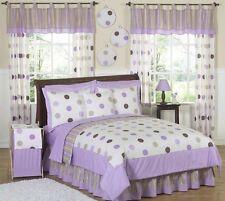 Jojo Modern Purple Brown Polka Dot Girls Kids Teen Full Queen Sized Bedding Set