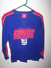 NY Giants boys size 14/16 shirt long slv Blue raised rubber letters New York Lg