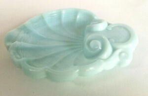 Old Turquoise Milky Glass Soap Disk Art Deco 1930's Seashell Vintage Shabby Chic