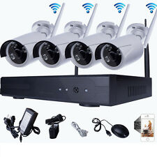 Wireless 4CH HD NVR 720P IP CCTV Outdoor WIFI IR-CUT Home Camera Security System