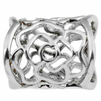 Hollow Rose Scarf Ring Buckle Slide Tube Scarf Jewelry Silver R DA