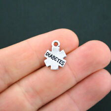 10 Diabetes Medical Charms Antique Silver Tone 2 Sided - SC4840