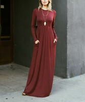 Maxi Dress Size UK 6 Ladies Marsala Red with Side Pockets Long Sleeved BNWT #412