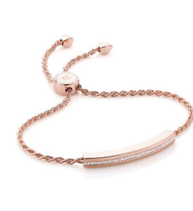 Monica Vinader Linear Diamond Chain bracelet 18ct Rose Gold version RRP £375