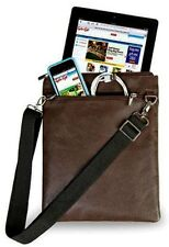 TABLET TRAVEL ADJUSTABLE SHOULDER BAG  PURSE - BROWN VEGAN LEATHER & CHROME