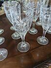 Shannon Crystal Wine Glasses Godinger SOUTH BEACH Palm Design Goblet Set of 11