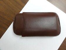 BUDGET LEATHER CIGAR CASE HOLDER OF 3 CIGARS HARD BROWN CASE ROYAL