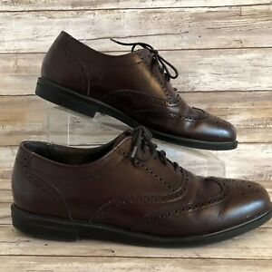 Clarks Mens Burgundy Leather Wingtip Oxford Dress Shoe Lace Up Brogue Size 9.5N