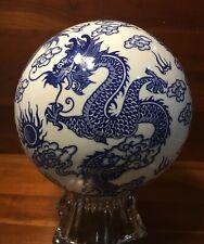 "Blue And White Dragon Porcelain Carpet Ball 8"" Across"