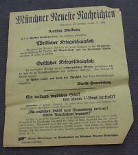 1. WK Plakat Tagesaufruf Aufmacher Münchner Zeitung Ostpreussische Grenze